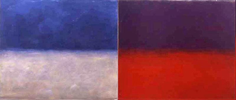 """""""Blau-Rot-Verschiebung"""" 2004, Tempera auf eloxiertem Aluminium, je 2 Teile 125 × 149 cm"""