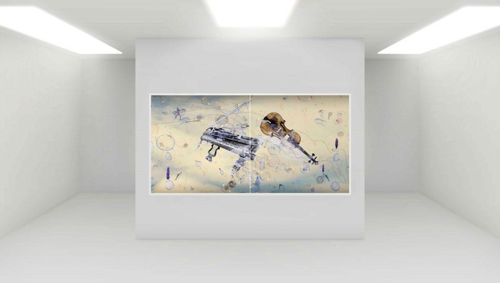 Amadeus -Diptychon (Klavier) 2 x B 140 cm x H 140 cm